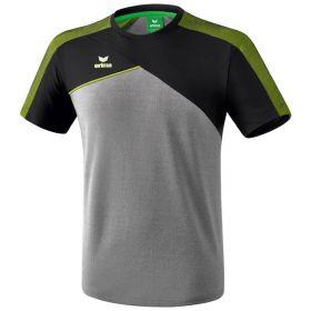 Erima Premium One 2.0 T-Shirt Kind Grijs Melange-Zwart-Lime Pop K1081806
