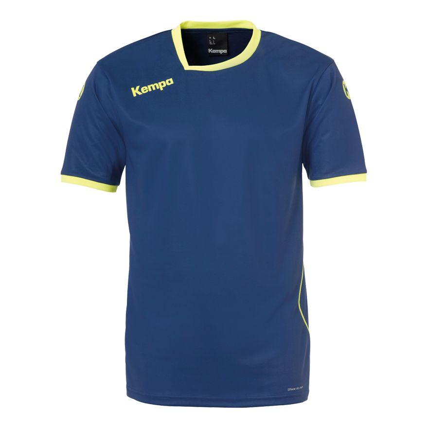 Kempa Curve Shirt Diep Blauw-Fluo Geel Maat 116