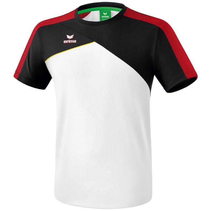 Erima Premium One 2.0 T-Shirt Wit-Zwart-Rood-Geel Maat S