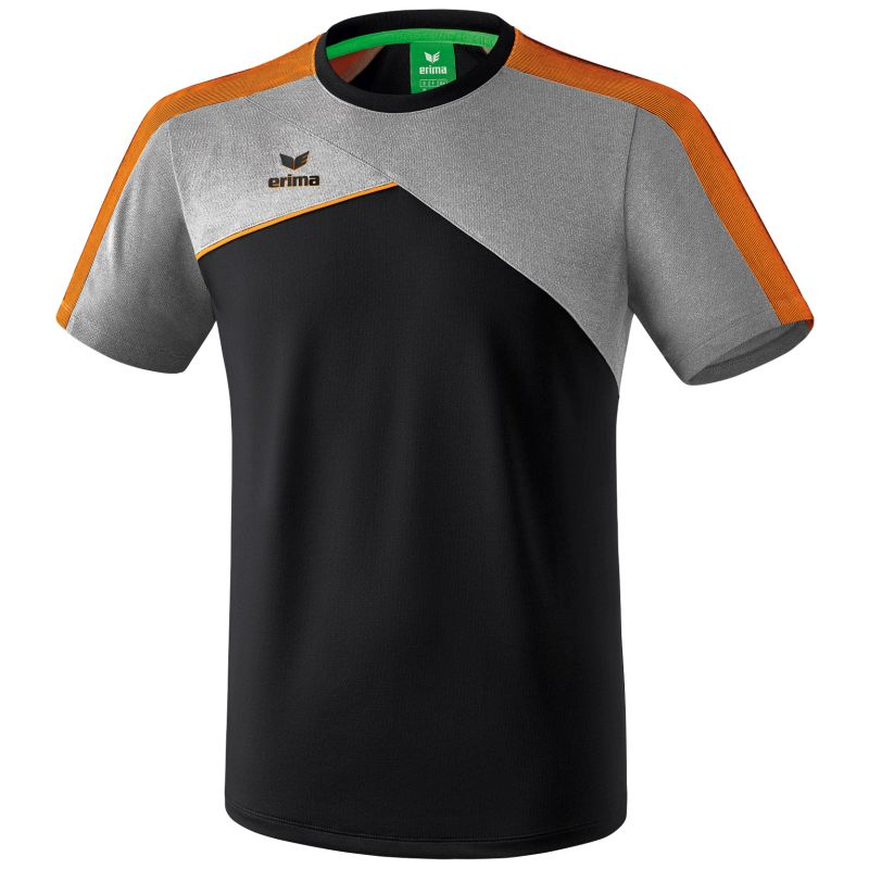 Erima Premium One 2.0 T-Shirt Zwart-Grijs Melange-Neon Oranje Maat S