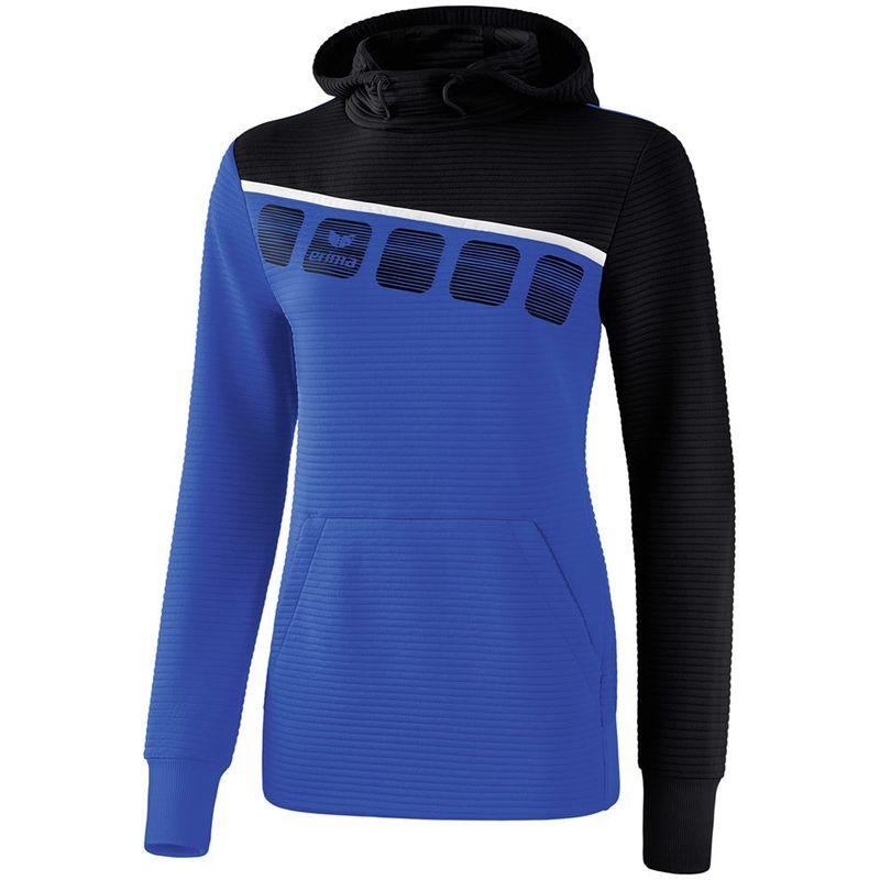 Erima Teamline 5-C Sweatshirt met Capuchon Dames New Royal-Zwart-Wit Maat 34