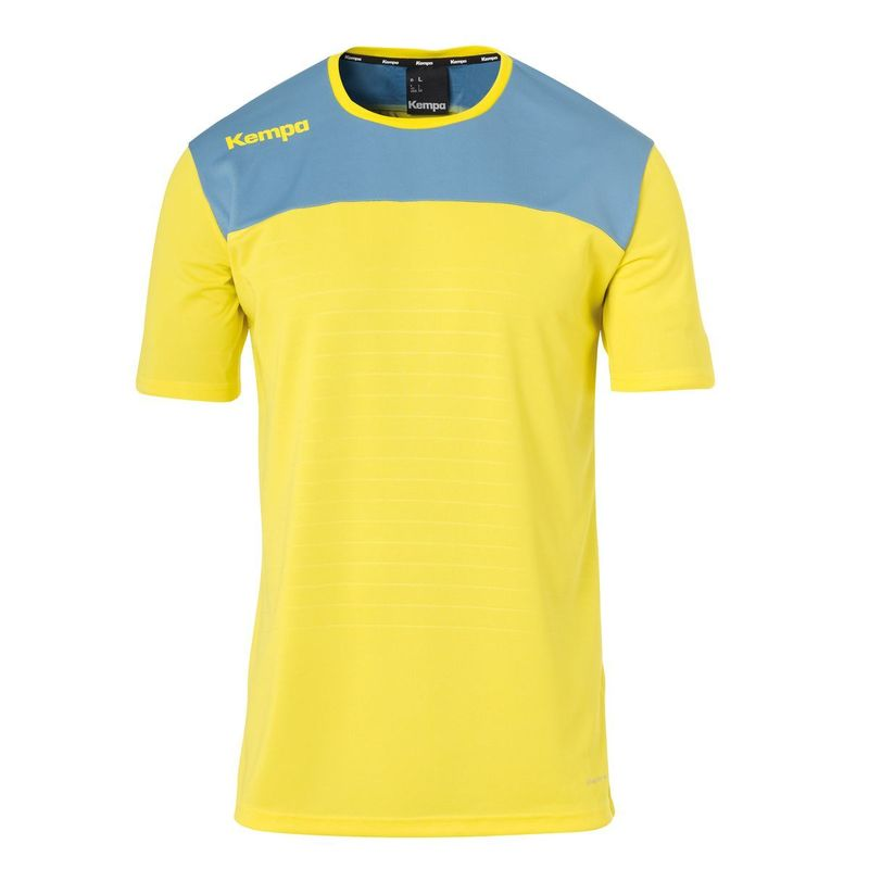 Kempa Emotion 2.0 Shirt Korte Mouw Limoen Geel-Dove Blauw Maat 3XL