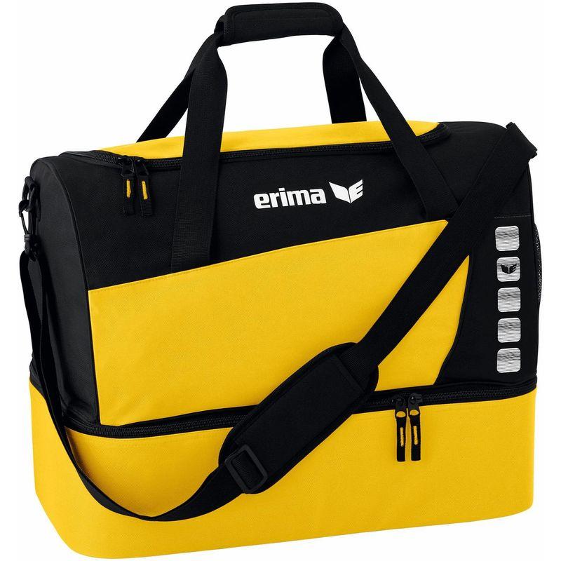 Erima Club 5 Line Sporttas met Bodemvak Maat L Geel-Zwart