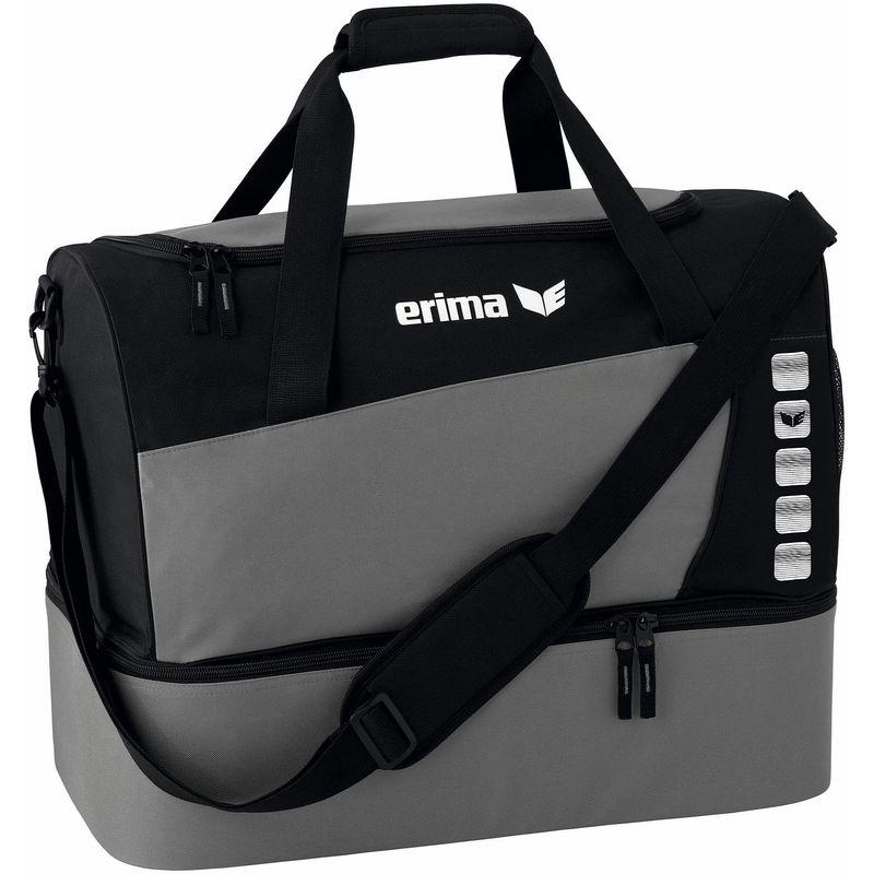 Erima Club 5 Line Sporttas met Bodemvak Maat L Graniet-Zwart