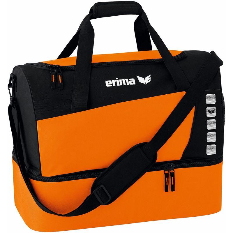Erima Club 5 Line Sporttas met Bodemvak Maat L Oranje-Zwart