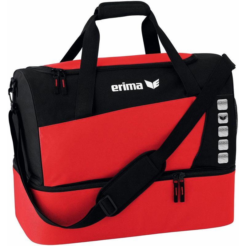 Erima Club 5 Line Sporttas met Bodemvak Maat L Rood-Zwart