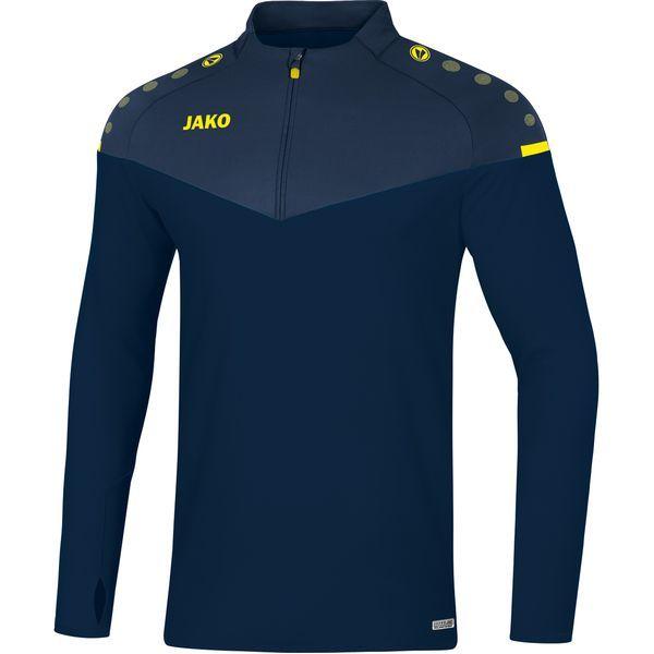 Jako Champ 2.0 Ziptop Kind Marine Blauw-Donker Blauw-Fluor Geel Maat 152