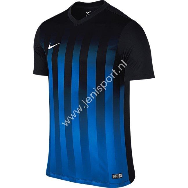 18c58098cc3eb3 Nike Striped Division II Shirt Korte Mouw Zwart Royal Blauw 725976 011 ...
