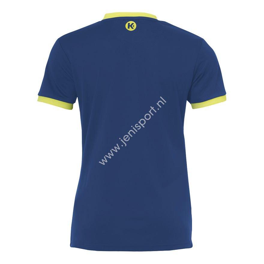 c9982e34e25 ... Kempa Curve Shirt Dames Diep Blauw Fluo Geel 200306709 Achterzijde ...